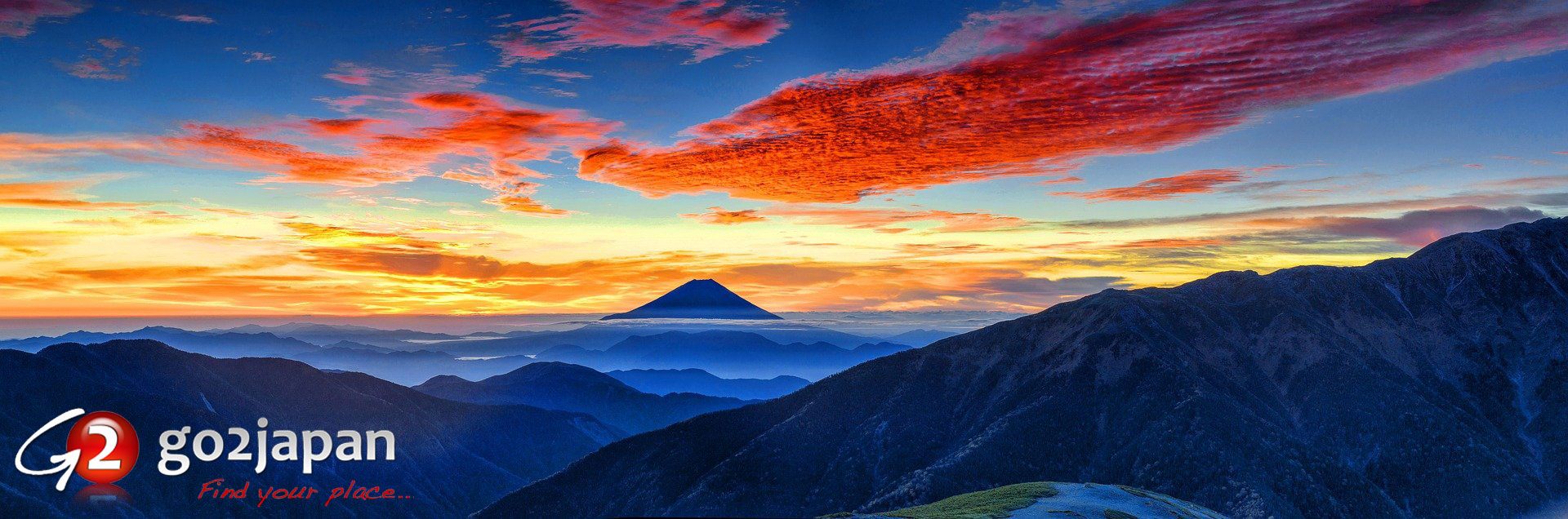 go2japan: find your place. (Mt. Fuji volcano is courtesy of Kanenori on Pixabay.)